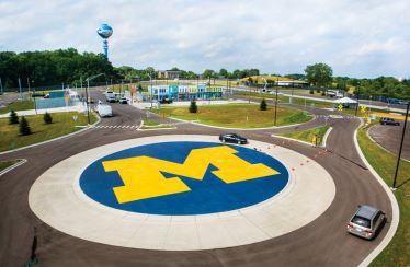 University of Michigan block M logo on a traffic circle